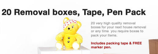 20 Removal boxes, Tape, Pen Pack - Only £25.00 Including Next-day Delivery